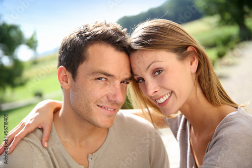 Sweet couple enjoying week-end in countryside