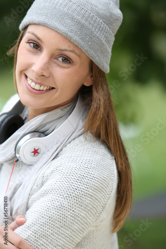Modern young woman with headphones