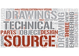 Technical drawing Word Cloud Concept