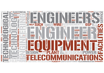 Telecommunications engineering Word Cloud Concept