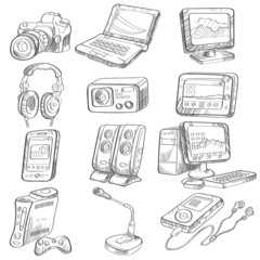 Pencil drawing of electronic gadget