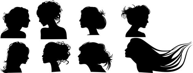 Силуэты девушек с прическами, вектор