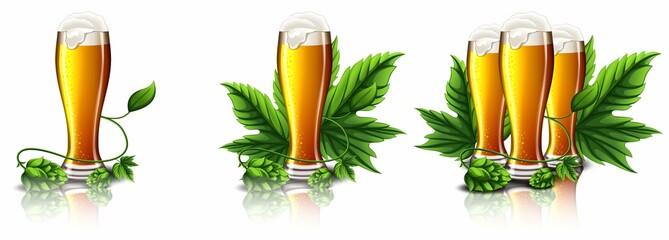 Бокалы с пенным пивом и плодами хмеля
