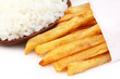 French fry with fresh rice over white background