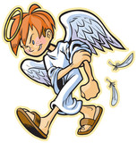 scrappy angel with red hair vector clip art
