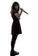 strange young woman killer holding  bloody knife silhouette
