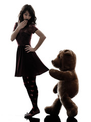strange young woman and vicious teddy bear  silhouette