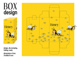 Box design love, die-stamping, folding, ready, dimensions 73x180