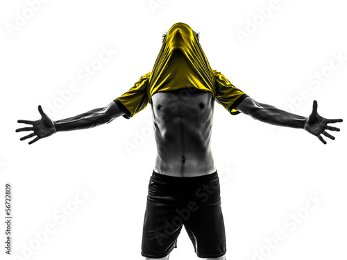 brazilian soccer football player young happiness joy man silhoue
