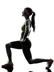 woman exercising fitness workout  lunges crouching silhouette