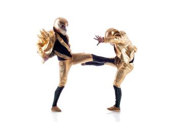 Sexy go-go performers fighting in studio