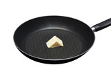 iron pan with some butter ( clipping path)