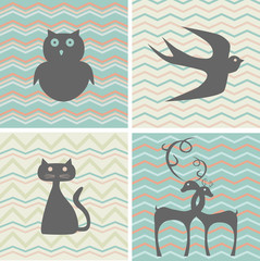 set of retro patterns with silhouettes of animals