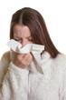 Junge Frau hat die Grippe