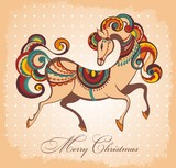 Merry Christmas card with fairy horse 2014