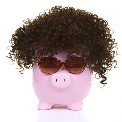 Money-box and wig