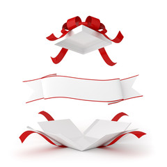 pacco regalo aperto con nastro scrivibile