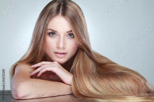 Beautiful girl, isolated on a light - grey, emotions, cosmetics