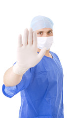 Doctor with open hand on white background