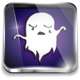 Halloween Ghost Icon Button Application Purple