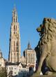 Antwerp - cathedral of Our Lady with the lion statue