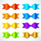 Rainbow colors bright vector paper bows set