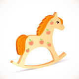 Wooden vector realistic horse toy