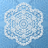 Ornate lacy white vector paper napkin