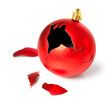 broken red christmas ball - 56730052