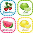 Strawberry, Watermelon, Lemon, Lime gingham check label tags