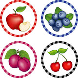 Fototapety Apple, Blueberry, Cherry, Plum round gingham check tags