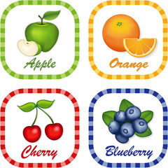 Green Apple, Orange, Cherry, Blueberry gingham check label tags