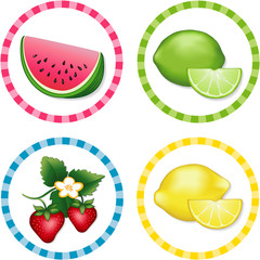 Watermelon, Lime, Strawberry. Lemon round gingham check tags
