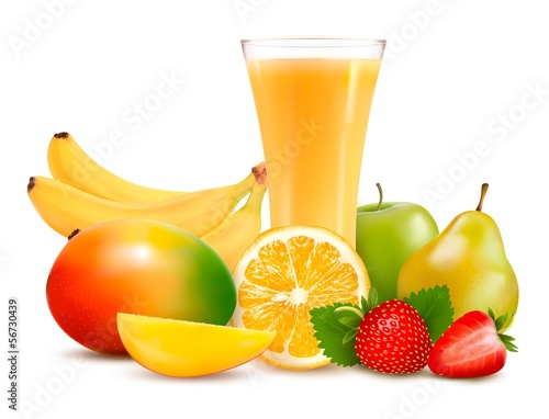 Group of summer and tropical fruit.Vector