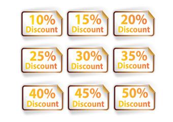 Icon set discount labels on orange white background, vector illu