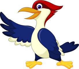 Cute woodpecker presenting