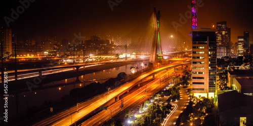 Bridge at night in Sao Paulo