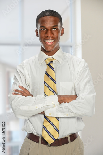 Businessman Smiling Indide Office