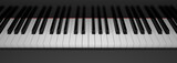 Front view of piano keyboard