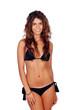 Attractive female girl with black bikini