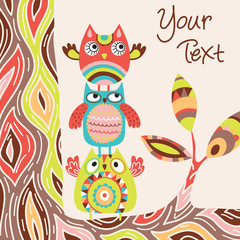 Cute vector background with owls