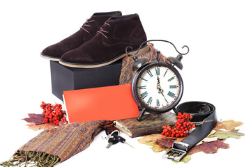 Black male shoes with clock