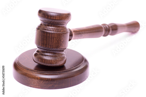 Wooden gavel isolated
