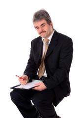 Geschäftsmann mit Notizblock
