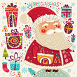 Cartoon funny Santa Claus with presents