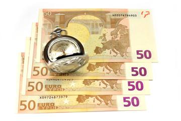 exact watch and bill euro as symbol financial trade