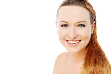 Smiling woman ready for make-up