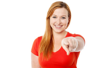 Young woman pointing you out