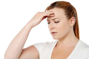 Woman having severe headache
