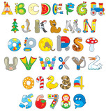 English alphabet and numerals with toys